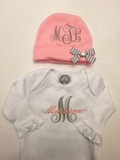 Going Home Outfit Baby Girl Gown and Beanie by LooptyLoopDesigns