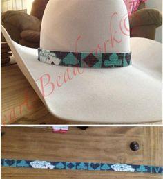 Custom beaded hat bands. Find me on Facebook! K bar heart beadwork!