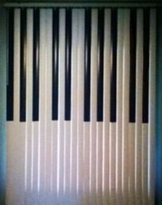 'PIANO KEYBOARD VERTICAL BLINDS - Single window vertical blind. Hung at ceiling edge, cut to 70-inch length (hangs about a foot below window sill), painted to resemble piano keys for my daughter's room. FUN!'