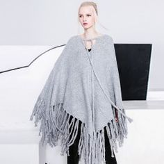Europe Fashion Autumn and Winter Tassel Female Cape V-neck Batwing Sleeve Thick Pullover Sweaters Irregular Casual Women Sweater Europe Fashion, Vintage Boutique, Batwing Sleeve, Bat Wings, Pullover Sweaters, Guli, Casual, Autumn Fashion, Bell Sleeve Top
