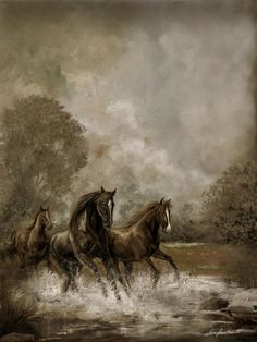 Horse Painting Escaping The Storm ~ Artist: Gina Femrite