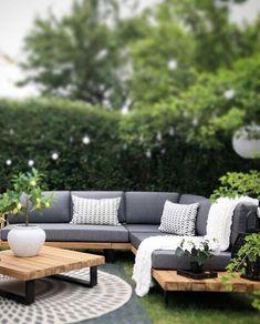 Garden Sofa Set Grey and Light Wood Corner Sofa Garden, Garden Sofa Set, Corner Sofa Set, Outdoor Sofa Sets, Diy Outdoor Furniture, Garden Furniture, Outdoor Decor, Garden In The Woods, Home And Garden