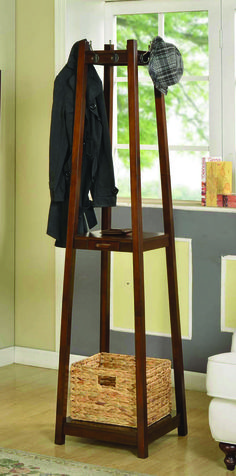 Add stylish storage to your house with this Coat Tree. A unique accent piece, this unit contains two shelves and a small slide-out storage drawer so everything you need is right at your fingertips.