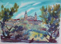Igor-Ziembrowski-73-signed-watercolor-Hearst-Castle-San-Simeon-California-21x16