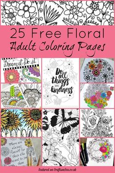 These gorgeous floral adult coloring pages are all yours to download. Beautiful flower designs for art therapy or chilled out relaxing.
