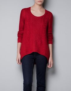 I think I found my new favorite store!!Zara TFR> Cable Knit Sweater in Christmas Red. So beautiful -Med ;) $35