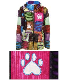 Patchwork Paw Print Hooded Jacket - purchase funds 28 bowls of food for sheltered animals