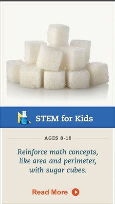 Teach your child about area and perimeter with sugar cubes #math. Click for details. #STEM