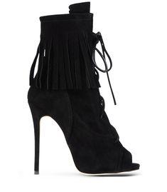 e4a2ff59e7ab Giuseppe Zanotti Design Black Suede Peep-Toe Ankle Boot Fringe Ankle Boots,  Black Lace