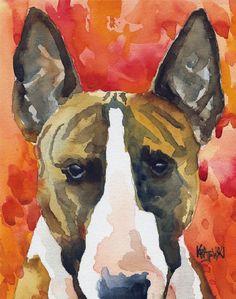 bull terrier watercolor.