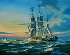 "Sailing Ship Paintings | Whaling bark ""Wanderer"""