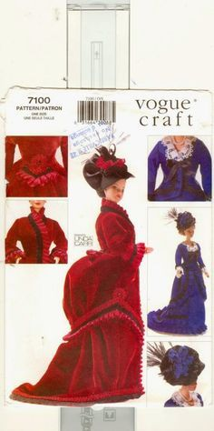 Herbie's Doll Sewing, Knitting & Crochet Pattern Collection: Edwardian Bustle Dresses for Barbie size dolls