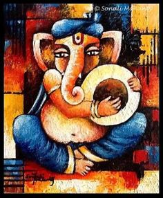 Image result for abstract texture ganesha painting