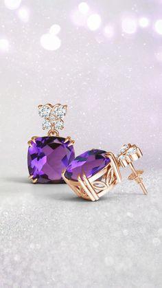 8c4b1a190 Amethyst Dangle Earrings with Diamond Butterfly Motifs. 14k White Gold ...