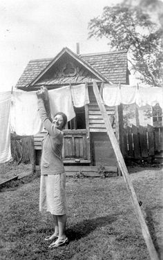 Hanging out the washing to dry - 1939--Gordon's mom always hung the clothes out to dry--no dryer !! My mom too in earlier days