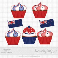 New Zealand cupcakes clipart, baking flag cupcakes digital clip art set PNG (168)
