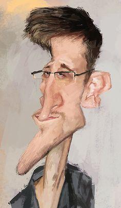 Caricatura de Edward Snowden.