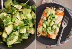 Black bean enchiladas with roasted red pepper sauce and avocados
