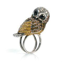 cupcake♥trash: nOir jewelry Noir Jewelry, Bee Jewelry, Insect Jewelry, Fashion Jewelry, Druzy Ring, Gemstone Rings, Owl Ring, Costume Jewelry, Gemstones
