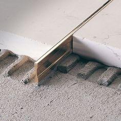 brass edge trim for tiles linetec pt profilitec - PIPicStats Detail Architecture, Interior Architecture, Interior Design, Floor Design, Tile Design, Joinery Details, Appartement Design, Tile Trim, Floor Patterns