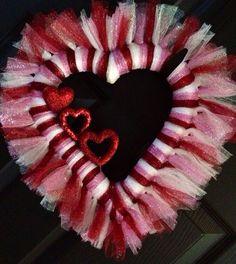Valentines Tulle Wreath Heart Shape on Etsy, $30.00