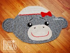 SALE Handmade Crochet Classic Sock Monkey Rug with Bow Ready to Ship