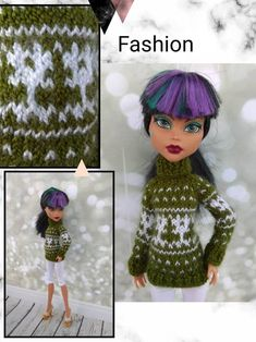 Items similar to Christmas sweaters Matching clothes for Monster High dolls. Hand-knitted dark red sweater for a MH boy and olive green sweater for a MH girl on Etsy Monster High Boys, Monster High Doll Clothes, Monster Dolls, Matching Clothes, Matching Outfits, Boy Doll, Girl Dolls, Olive Green Sweater, Clothes Crafts