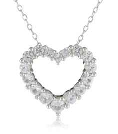 Sterling Silver Created White Sapphire Pendant Necklace