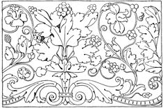 The Renaissance Ornament Vine is a frieze design found in Venice, Italy in the century. Stencil Patterns, Textile Patterns, Embroidery Patterns, Textiles, Scroll Pattern, Border Pattern, Jacobean Embroidery, Art Nouveau Illustration, Ceiling Art