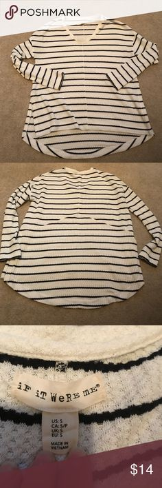 "If It Were Me Striped High Low Top If It Were Me Striped High Low Top, size small, white with blue stripes, measures 44"" bust and 28"" length in back and 24.5"" length in front! Very light and airy! If It Were Me Sweaters V-Necks"