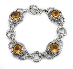 Citrine Sterling Silver Bracelet with 18K Gold Accents | Cirque Jewels