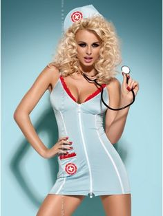 costume set - dress, sexy thong, real stethoscope and a cup in set.  WOOOWW REAL STETHOSCOPE !!! for only 32 Euro. MUST HAVE :)