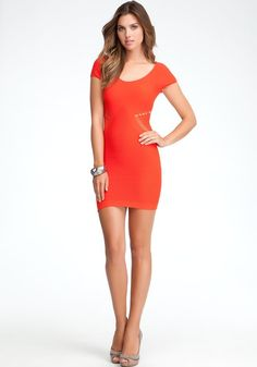 Diamond Side Slash Detail Dress - Fiery Red - $69