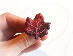 Red maple ring leaf made of lightweight paper mache and hand painted.  An eco-friendly jewelry for those who love nature and respect it! by Sognoametista