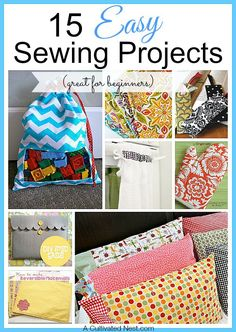 Sewing is a timeless & highly useful skill! If you're a beginner it can be hard to narrow down all the projects you see to find one you'll actually finish. Here are 15 Easy Sewing Projects to get you started!