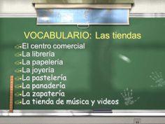 Las tiendas Spanish Class, Learning Spanish, The Unit, Shopping, Ideas, School, Home, Vocabulary, Restaurant