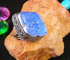 Flower Carving Chalcedony .925 Silver  Ring  Size 7.75 Jewellry SJC1637 #Handmade