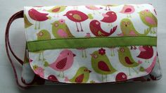 Large Wristlet ~ Birds ~ Bridesmaids Gift ~ Stroller Tote ~ Pink and Green ~ Small Items Organizer ~ Feminine Present