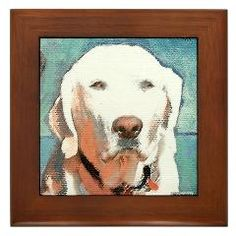 Yellow Lab framed tile, painting by Rd Riccoboni