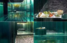 The five steel and glass pavilions of the hotel Les Cols, located in the town of Olot, Girona