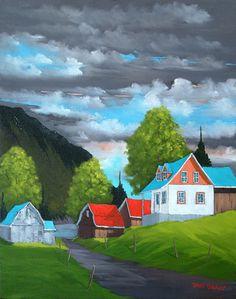 Chaleur d'été, Daniel Brunet Watercolor Landscape, Landscape Art, Landscape Paintings, Watercolor Paintings, Scenery Paintings, Colorful Paintings, Canadian Painters, Canadian Artists, Mini Canvas Art