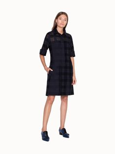 Akris® Official – Checked Summer Cotton and Silk Dress Collar Dress, Timeless Fashion, Cotton Dresses, Silk Dress, Warm Weather, Dress Making, Classic Style, Dresses For Work, Spring Summer