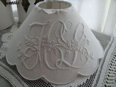 Old embroidery for lamp shade Vintage Lampshades, Embroidery Monogram, Hand Embroidery, World Crafts, Linens And Lace, Heirloom Sewing, Do It Yourself Projects, Lamp Shades, Decoration