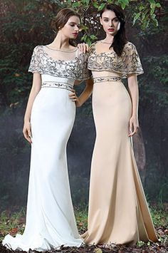 eDressit White Cape Embroidery Beaded Formal Dress (02171307)