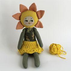 Flower doll. Sunflower doll. Crochet skirt. Natural dyed fabrics. Handmade doll.
