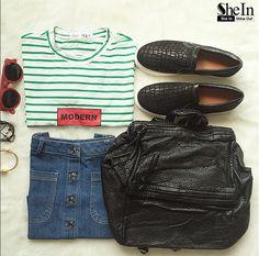 Green Short Sleeve Striped Crop T-Shirt