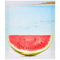 Smile Watermelon Wall Art ($13) ❤ liked on Polyvore featuring home, home decor, wall art, canvas wall art, ocean canvas wall art, quote canvas wall art, quote wall art and typography wall art