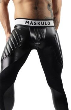 Mens Workout Tights Muscle Enhancer by Maskulo. A sportswear leggings with black faux leather padding along quads, calves, and bulge for a magnified leg physique. | www.differio.com Stylish Mens Fashion, Men's Fashion, Men's Workout Tights, Mens Activewear, Bambam, Super Skinny Jeans, Black Faux Leather, Physique, Calves