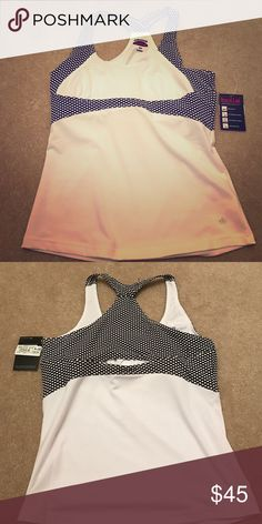 Black and white Bollé workout top Bollé white and black racerback with polka dot accents. Size M. Never worn. Bollé Tops Tank Tops