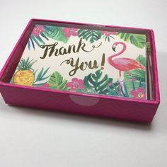 CLEMENTINE BOXED SET OF 16 BLANK FLAMiNGO  GOLD FOIL THANK YOU CARDS.NIB #CLEMENTINE #ThankYou